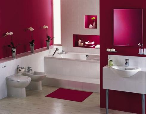 дизайн ванной комнаты (красный цвет)