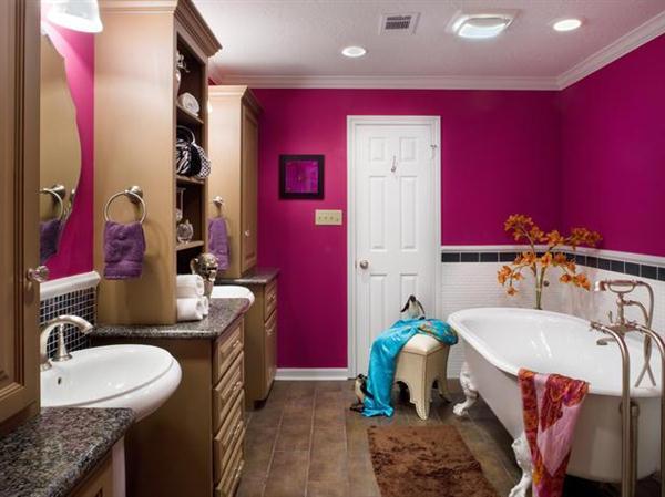 дизайн ванной комнаты (розовый цвет)