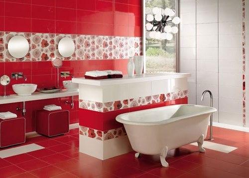 дизайн ванной красный цвет