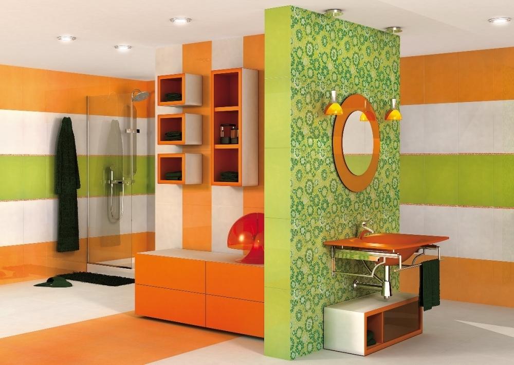 оранжево-зеленая ванная комната