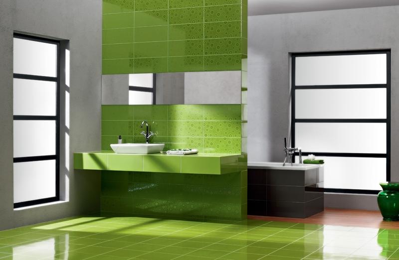 дизайн ванной комнаты (зеленый цвет)