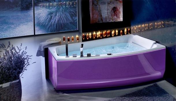 дизайн ванной комнаты сиреневый цвет
